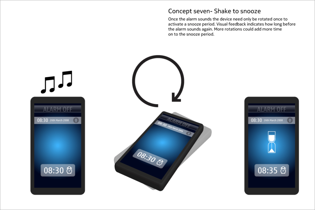 Alarm concept - shake to snooze