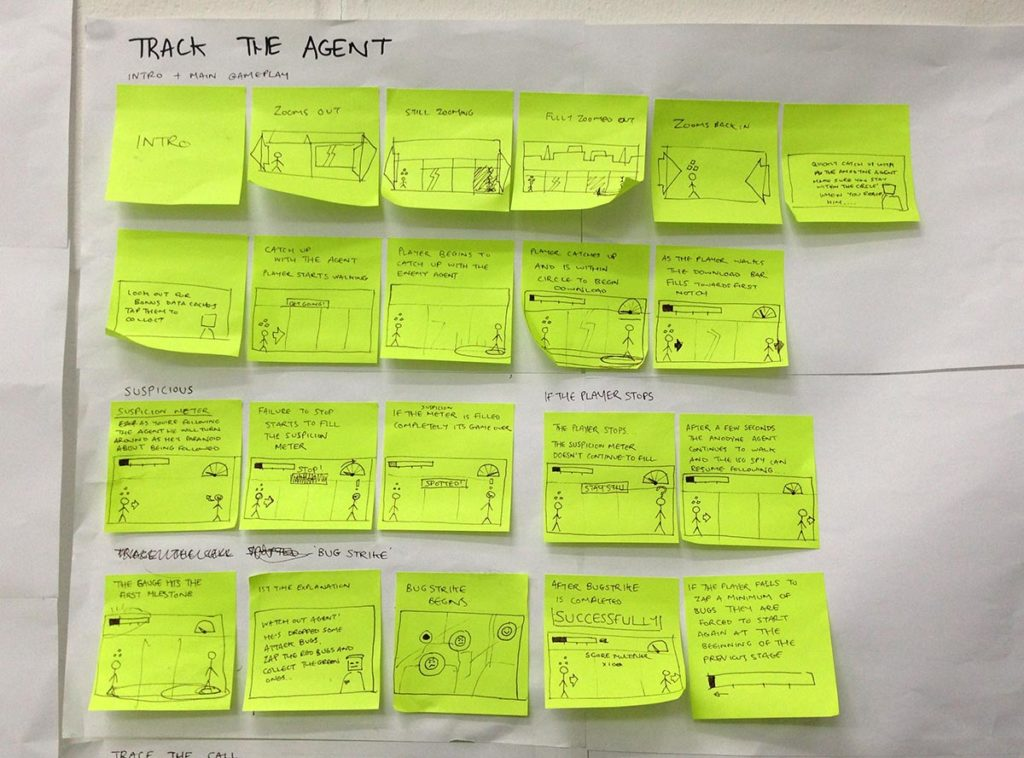 Sketches for 'Track the Agent' game