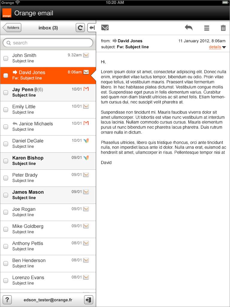 Email web app - portrait