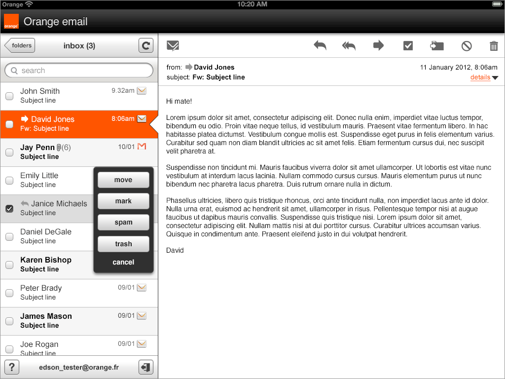 Web email app