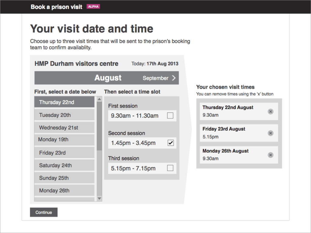 Early date picker design
