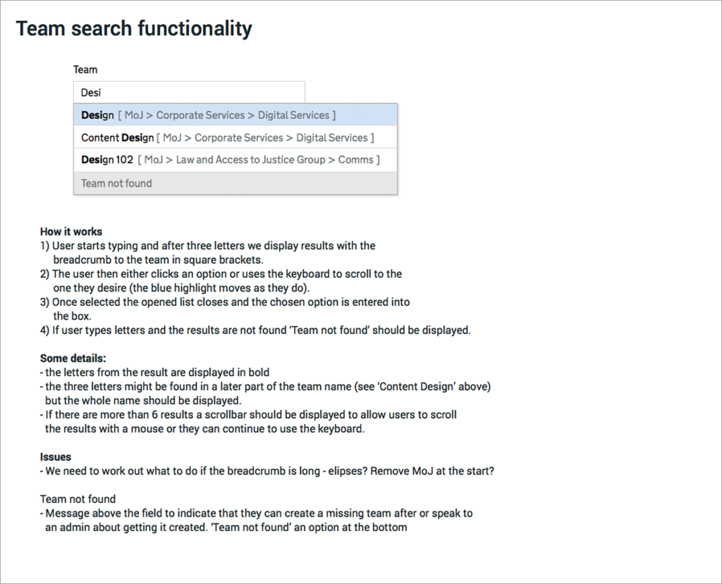 Team search functionality